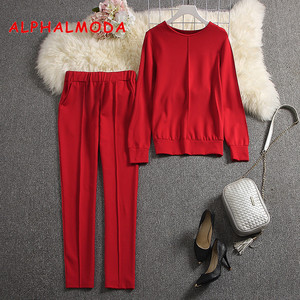 Image 1 - ALPHALMODA 2019 Outono Nova Chegada Qualidade das Mulheres Fatos de Treino Longo sleeved Camisola Calças 2pcs Sólido Conjunto de Moda Terno