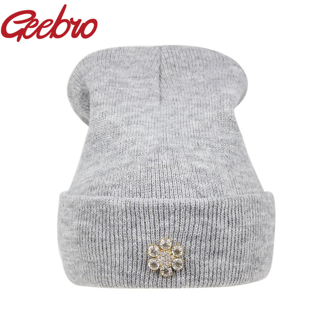 c8d7917dcf1 Geebro Fashion Diamond Rhinestone Beanies for Women Female Winter Warm  Knitted Hat Hip Hop Cap Women