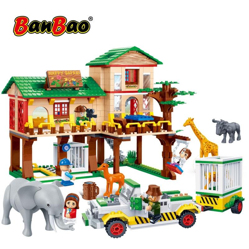 BanBao Building Blocks National Zoo Camp House Safari Animal Elephant Giraffe Bricks Educational Model Toys Kids