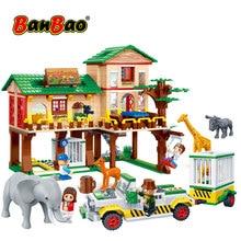 BanBao Building Blocks National Zoo Camp House Safari Animal Elephant Giraffe Bricks Educational Model Toys Kids Children 6651