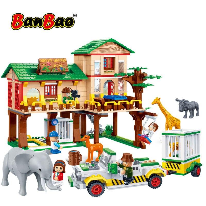 BanBao Building Blocks Nazionale Zoo del Campo di Casa Safari Animale Elefante Giraffa Mattoni Modello Educativo Giocattoli Per Bambini Per Bambini 6651-in Blocchi da Giocattoli e hobby su  Gruppo 1