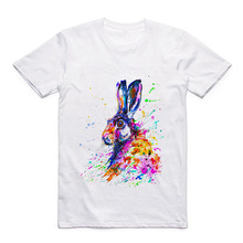 Summer Modal Short Sleeve Pattern Acuarela Animal Bunny/Elephant /Tiger/Peacock/Giraffe/Panda White Casual T-shirt t shirt bunny white