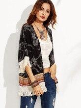 цены на Womens Boho Black Floral Print Tassel Blouse Shirt Fashion 3/4 Sleeve Kimono Summer Autumn Beach Cover Outwear Tops Blusa  в интернет-магазинах
