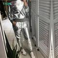 TAOVK design Rússia estilo Prata Brilhante PU Camisola de Primavera e Outono das Mulheres Longa e Calça de treino