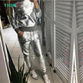 TAOVK design Russia style Women's Spring and Autumn Silver Shiny PU  Sweatshirt and Long Pant  tracksuits