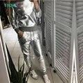 TAOVK diseño Rusia estilo de Primavera y Otoño de Las Mujeres de Plata Brillante de LA PU chándales Sudadera y Pantalón Largo