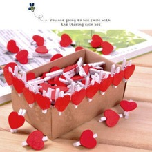 20Pcs Heart Love Wooden Clothes Photo Paper Peg Pin Clothespin Craft Postcard Clips Home wedding Decoration