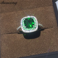 choucong Fine Jewelry Genuine 100% Real 925 sterling Silver ring 3ct Diamonique Green Cz Engagement Wedding Band Rings For Women
