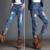 Outono Inverno Coreano de Cintura Alta Soltas Harem Pants Calça Jeans Denim Do Vintage Print Floral Grande Tamanho Padrão Pintado Jean XS XXXL 6XL 7XL