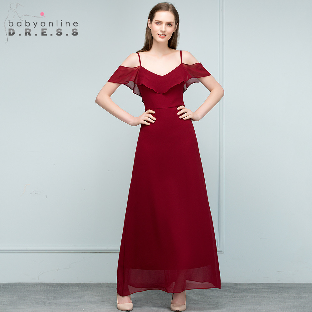 New A-Line Off the Shoulder   Bridesmaid     Dresses   2019 Burgundy Chiffon Backless Wedding   Dresses   Long Party Gown Prom   Dresses
