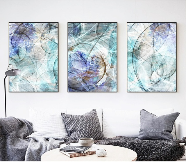 Modern abstract line art 3 pieces decorative paintings wall art print picture canvas painting poster for