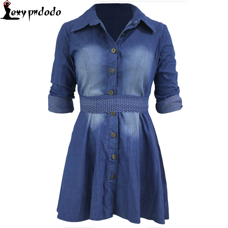 New Fashion Office Long Sleeve Jeans Shirt Flared bandage dress Solid 2016 Autumn Winter dress with Belt A-line Skater Dresses