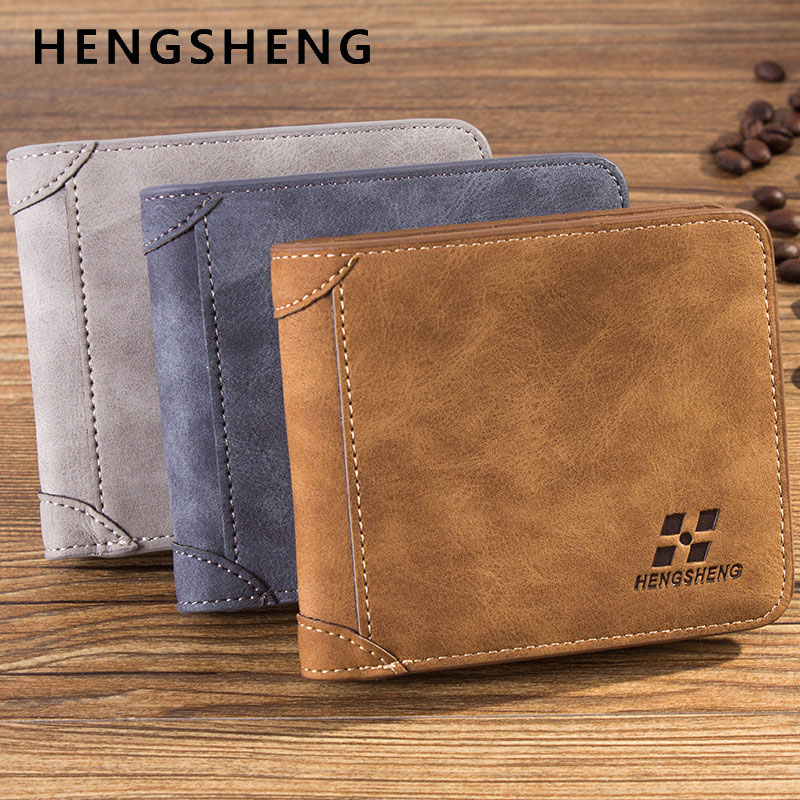 2017 Hot Style Vintage Crazy Horse Leather Male Wallets Trifold Man Wallet Purse with Card Holder for Men