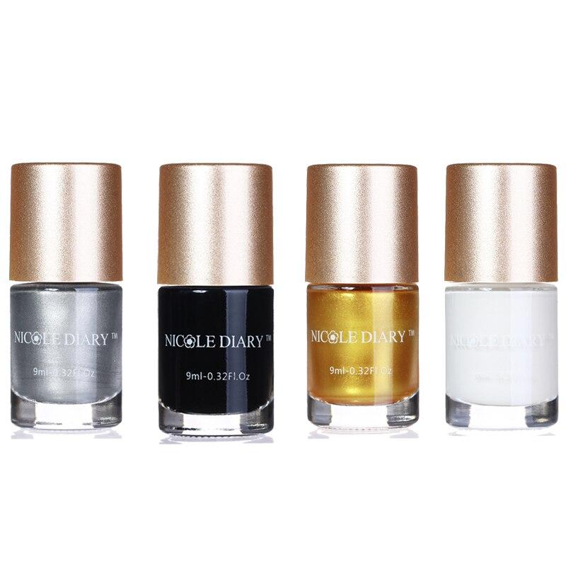 4 Bouteilles NICOLE JOURNAL 9 ml Nail Art Stamping Polonais Argent Nail Art Vernis Polonais pour la Beauté Nail Art Impression