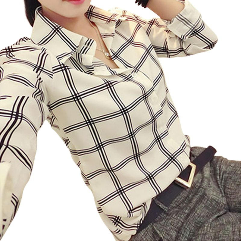 2019 New Style Fashion Womens Long Sleeve White Shirts Plaids Pattern Lapel Casual Blouse Tops Women's Clothing