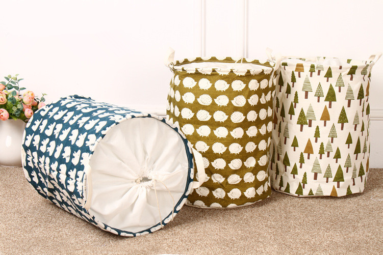 New Fashion Hot Sale Vogue Practical Foldable Cotton Linen Washing Clothes  Laundry Basket Toy Bag Hamper Storage 3 Patterns