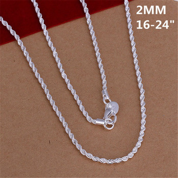 16-24INCHES Free shipping Beautiful fashion Elegant silver color women men 2MM chain cute Rope Necklace Can for pendant ,N226 1