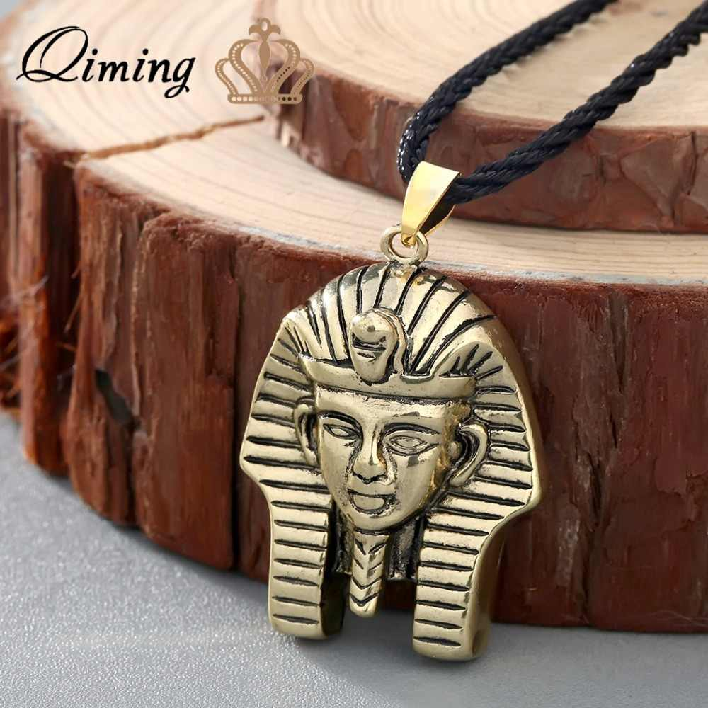 QIMING Antique Silver Black Necklace Egypt Jewelry Pharaoh Pendant Necklace For Men Women Vintage Jewelry Necklace Collier