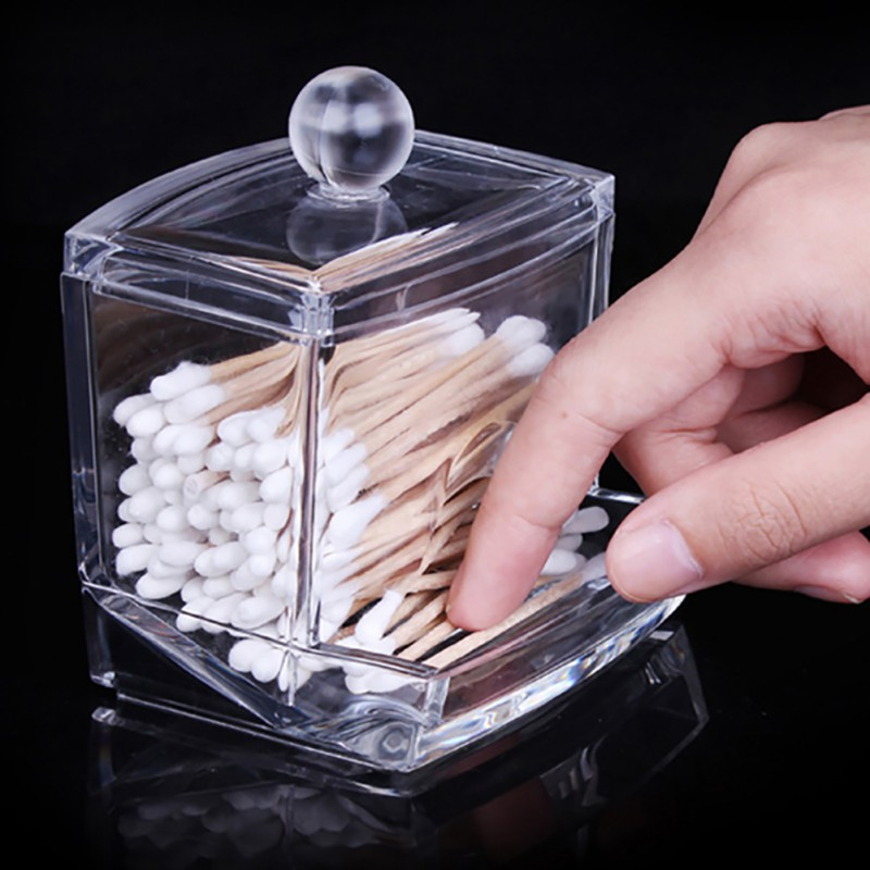 1PCS  Empty Clear Acrylic Storage Holder Box Transparent Cotton Swabs Stick Cosmetic Makeup Organizer Cosmetic Cotton Receptacle