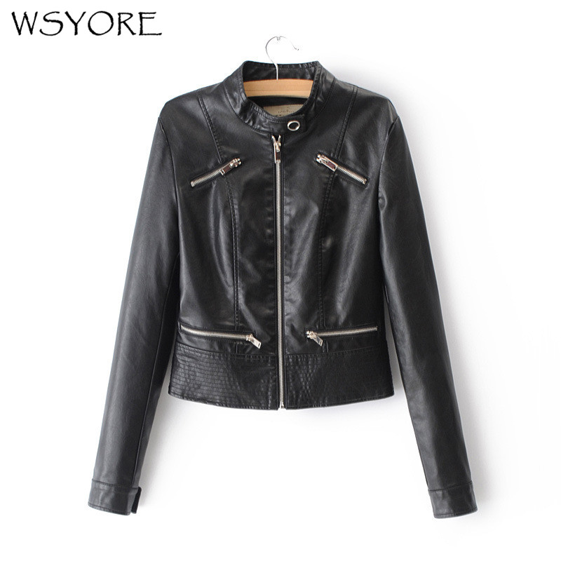WSYORE Motorcycle Jacket Slim Black Pink 4 colors 2019 New Spring and Autumn Women European Style PU Faux   Leather   Jacket NS333