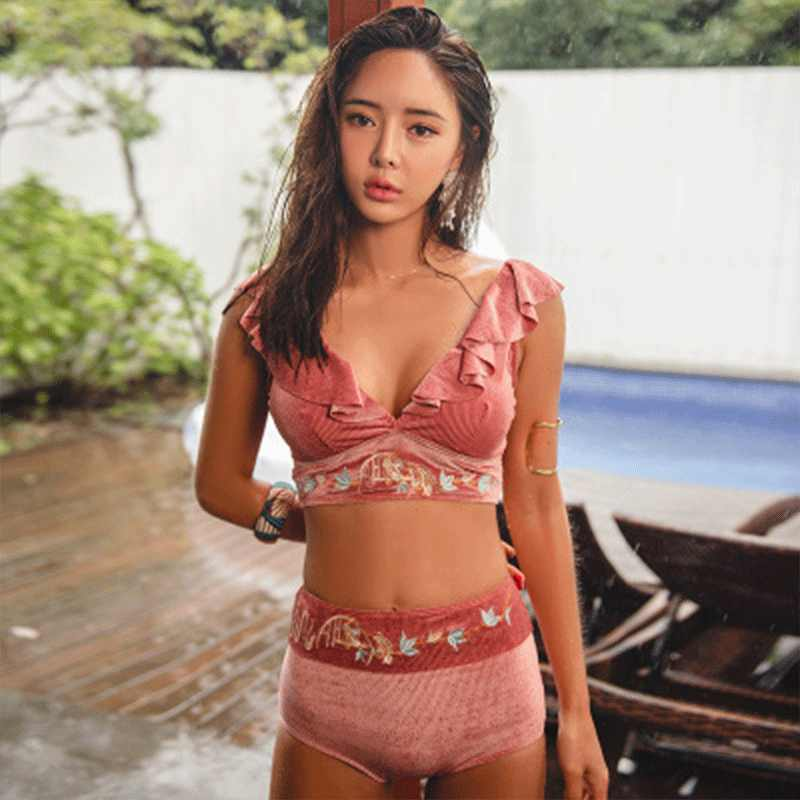 f3701c528b ... Sexy Spring Summer 2019 String Pink Korean Bikini Push Up Bikinis Mujer  Slim Swimsuit Ruffle Swimwear ...