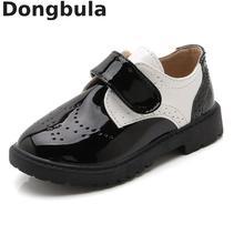 Новинка; стильная детская кожаная обувь; модные свадебные модельные туфли в стиле ретро; черные школьные вечерние мокасины для мальчиков и девочек