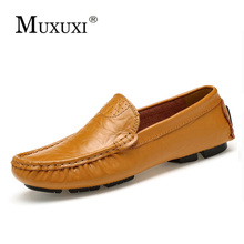 New arrival high quality genuine leather comfortable casual shoes men loafers shoes soft breathable flats driving shoes big size