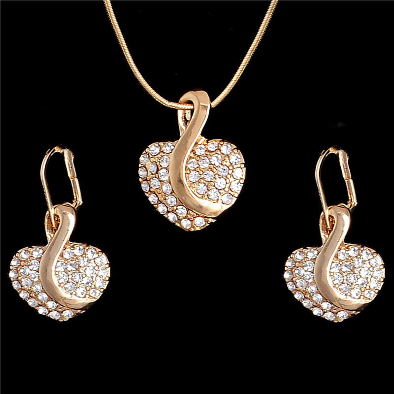 Crystal Jewelry Set Brand Gold Silver Fashion Party Wedding Bridal Rhinestone Heart Pendant Necklace Earring Set Accessories