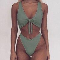 Solid Push Up Swimwear Simple Bandage Sexy Bathing Suit Summer Backless Bikini Set Swimsuit Underwear Beachwear