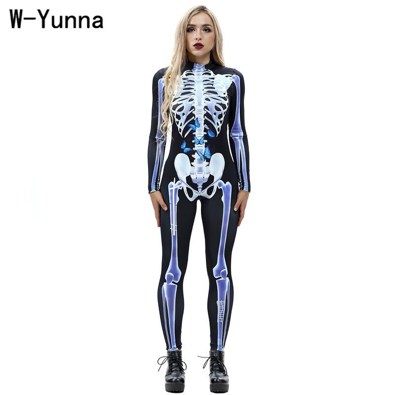 W-yunna 2019 Herfst Kleding Mode Vlinder Skelet Frame Digital Printing Vrouwen Bodysuits Elastische Sexy Een Stuk Jumpsuit