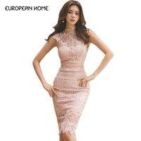 2019 New Pink Sweet Sleeveless Dress elegant sheath stand neck Hollowed out stitching lace summer dresses women 862