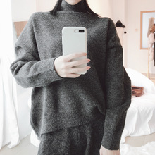 2018 Winter pullover sweater women back vent  rabbit hair blend knitted pullover sweater ladies pullover sweater woman fm9122