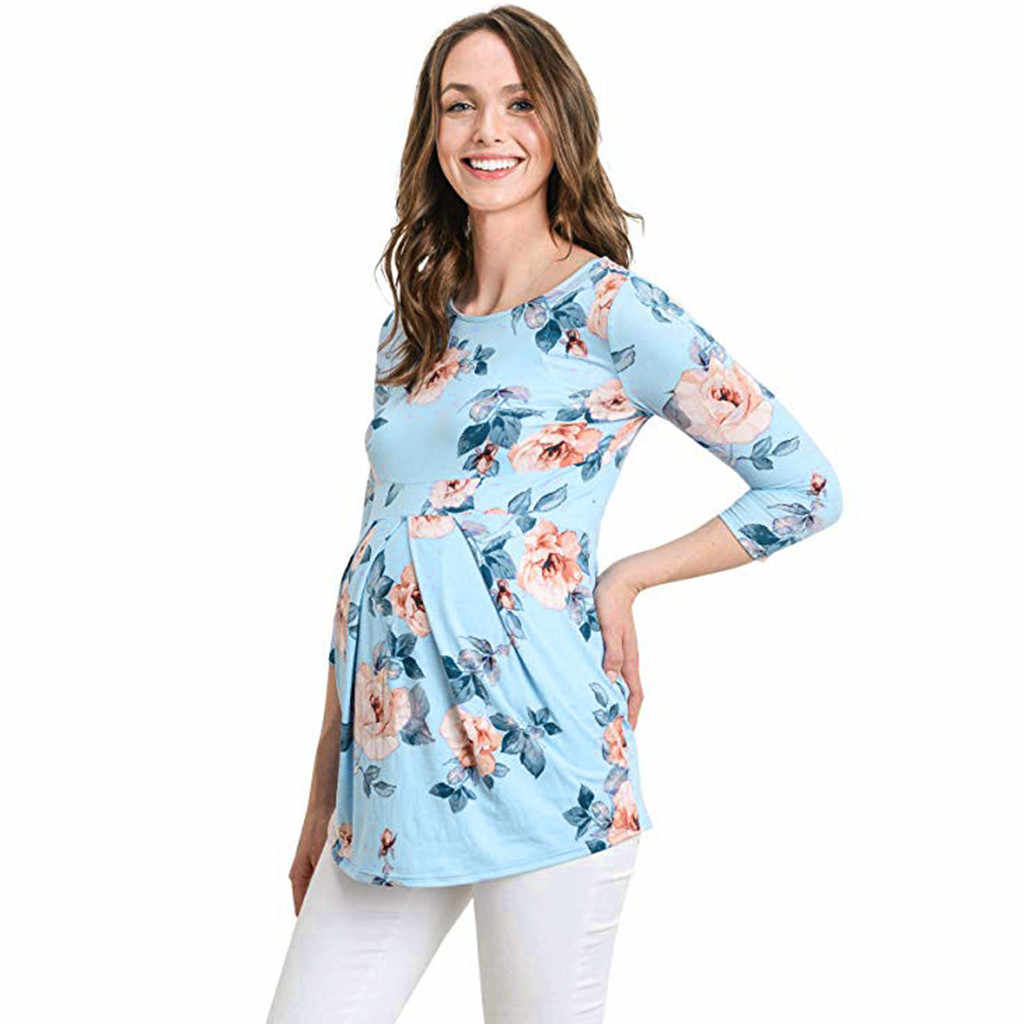 Women Maternity T shirt Casual Long Sleeve Breastfeeding Clothes Floral Print Nursing Top Breastfeeding Pregnant T-shirt Clothes