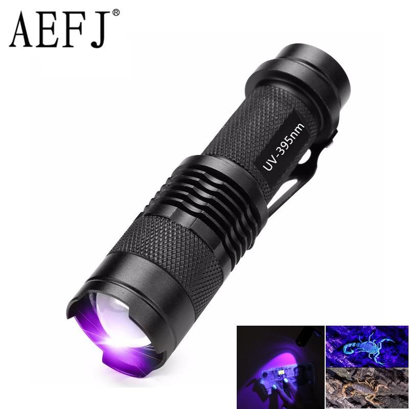 Mini UV Black Light UV Flashlight Ultra Violet Light With Zoom Function Pet Urine Stains Detector Scorpion Use AA/14500 Battery