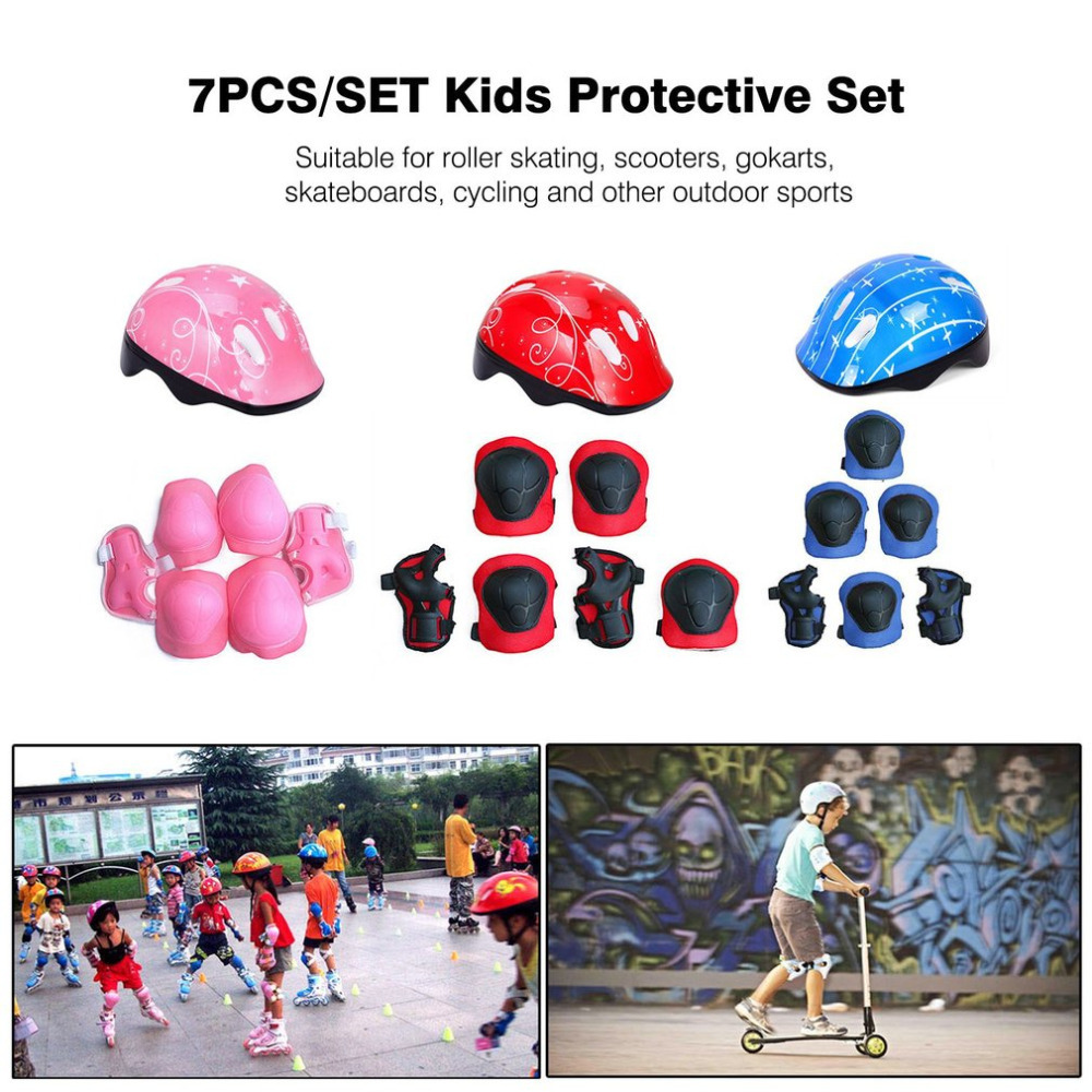 7PCS/Set Kids Sport Toys Roller Skating Helmet Knee Elbow Wrist Pad Protective Gear Set Comfortable Scooter Skate For Sports