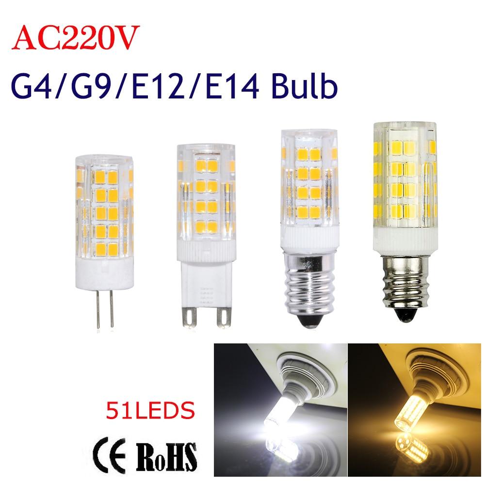 G4 G9 E12 E14 Led Bulb Light 51LEDS 220V 5W Corn Bulb SMD2835 Ceramics Candle lamps For Crystal Chandelier Lighting White/WW круг алмазный по керамике 1a1r ceramics elite 200x1 6x7 0x25 4 diam 000547