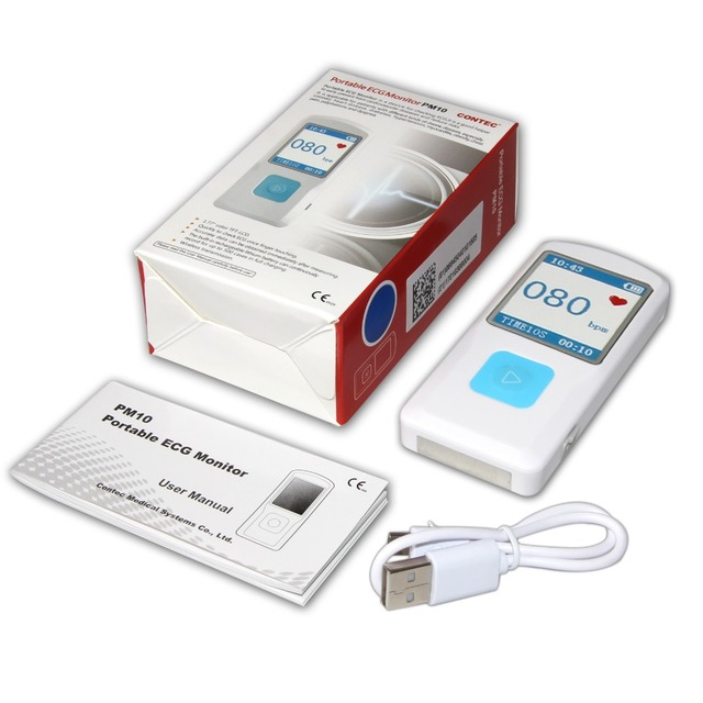 Portable ECG EKG Machine Color Screen ECG Monitor Handheld Heart Machine BT USB PC Software Home Care