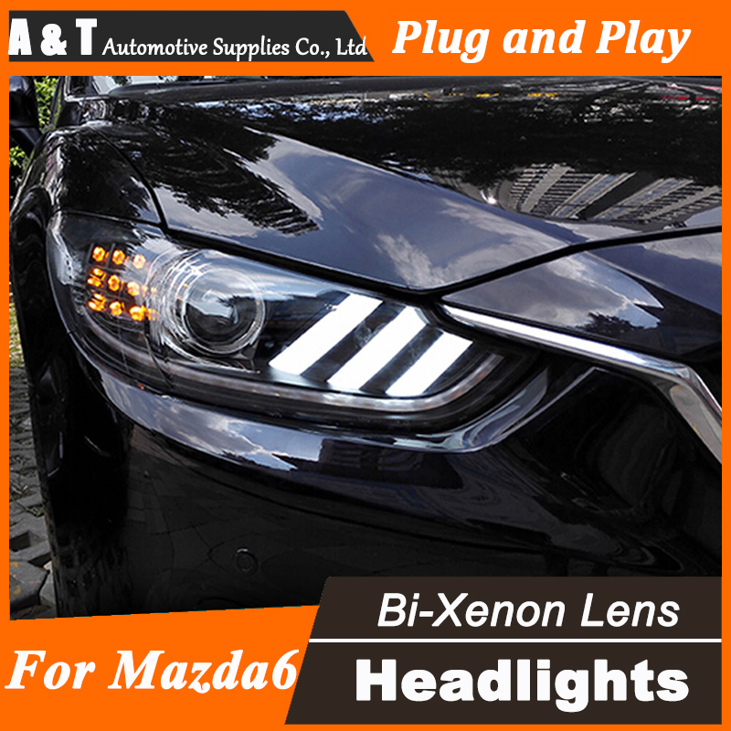 A&T Car Styling for 2014 New Mazda 6 LED Headlight Mazda6 Headlights DRL Lens Double Beam H7 HID Xenon bi xenon lens