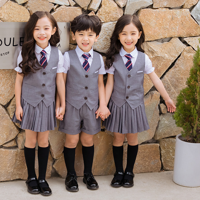 Children Korean Japanese School Uniform For Girls Boys White T Shirt Grey Skirt Shorts Waistcoat Tie Clothes Set Student Outfits