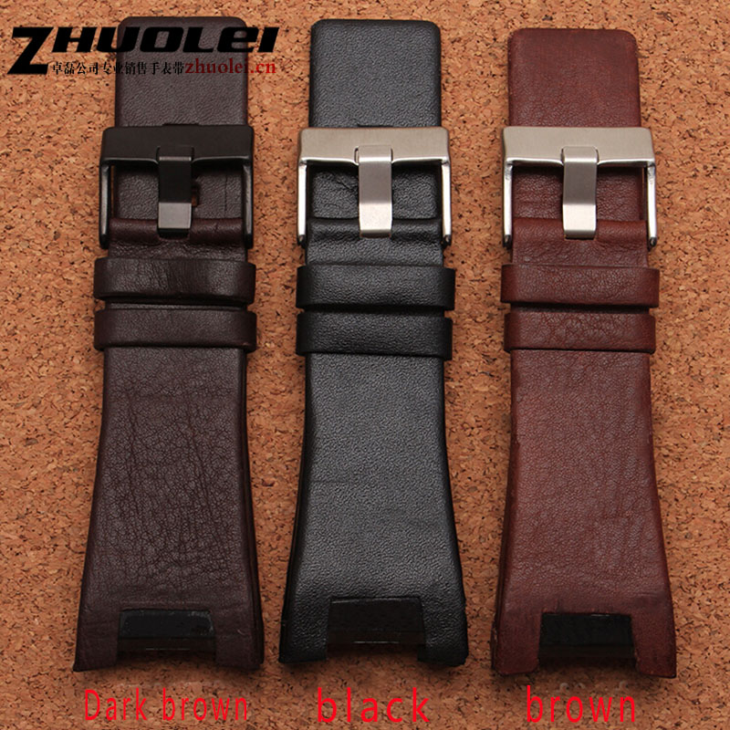 New style 32 17mm black brown with steel clasp genuine leather watchband strap Dedicated men fit
