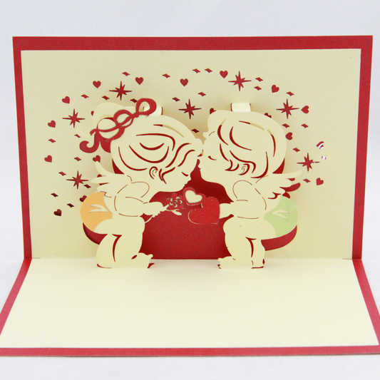 Little angle kissing love card /3D  card pop up card/  gift card customize Free shipping the kissing garden
