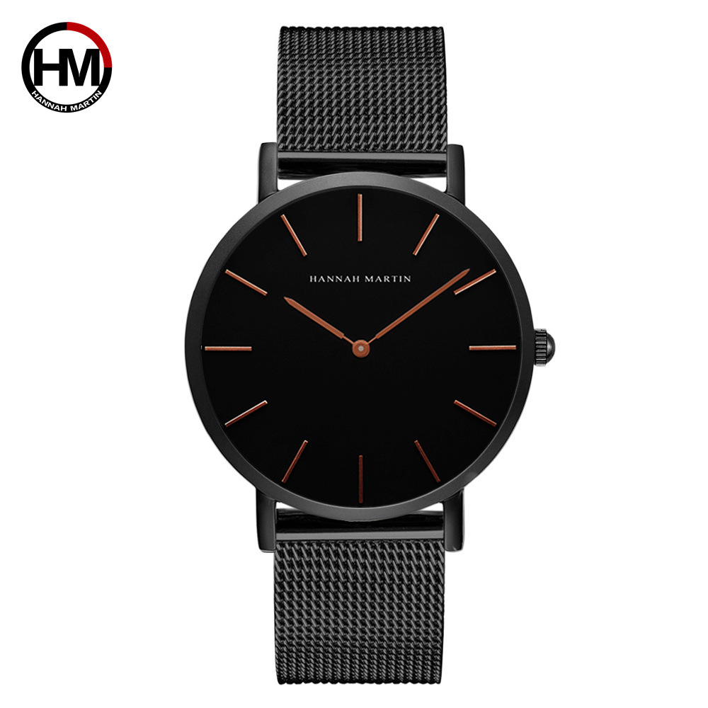 Hannah Martin Japan Quartz Men Watches Mesh Stainless Steel Man Wristwatch Business Watch Relogio Masculino Erkek Kol Saati