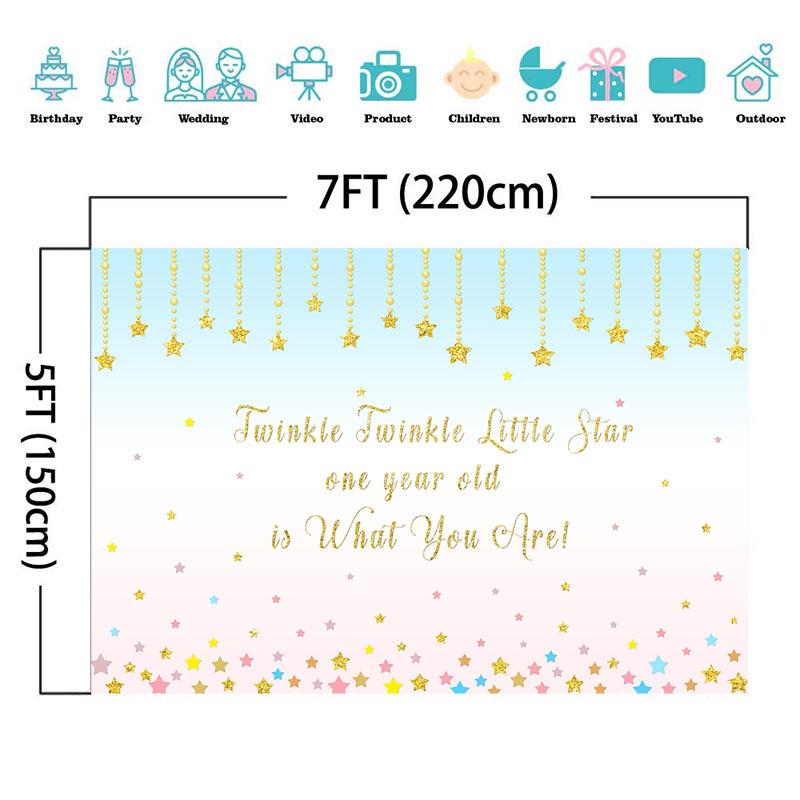 Happy 1st Birthday Backdrop Twinkle Twinkle Little Star Photography Background Kids First Birthday Party Decoration Backdrops in Background from Consumer Electronics