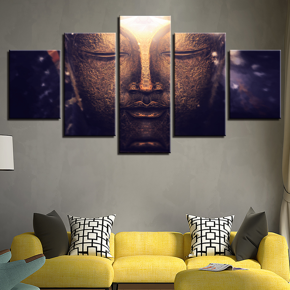 Abstract Canvas Artwork Poster Style Wall Pictures 5 Panel Buddha Face For Living Room Cuadros Modern Decoration Paintings