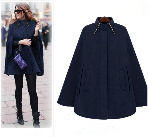 UK Brand Poncho 2017 Autumn Winter Brown Navy Cashmere Hooded Cape ...