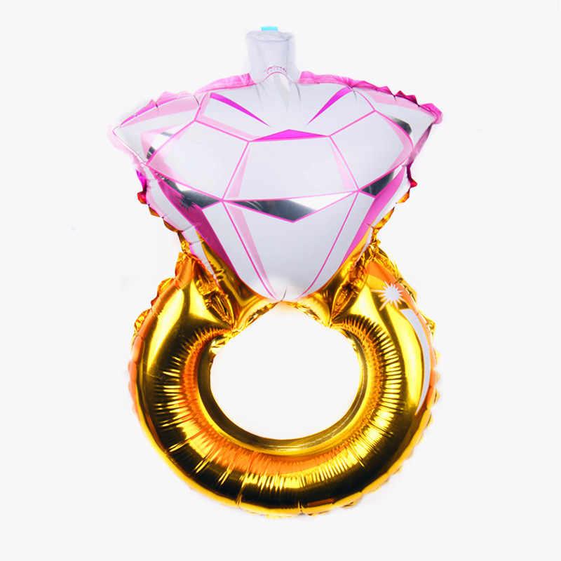 Xxpwj Бесплатная доставка Новый мини день Святого Валентина бриллиантовое кольцо алюмиевый воздушный шар Свадебная помолвка декоративный шарик B-097