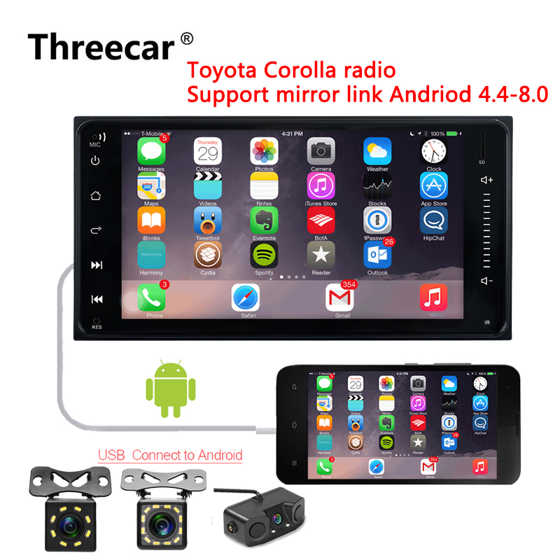 2din Car Radio 7 inch Touch mirrorlink Android Player Autoradio Bluetooth Rear View Camera tape recorder for Toyota  Corollar2din Car Radio 7 inch Touch mirrorlink Android Player Autoradio Bluetooth Rear View Camera tape recorder for Toyota  Corollar