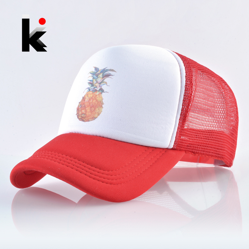 Summer   Baseball     Cap   Men And Women Breathable Mesh Hip Hop Bones Print Pineapple Snapback Casquette Homme Fashion Trucker Gorras