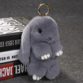 Rex Rabbit Fur keychain Cute Rabbit Doll Key Chain Pendant White/Pink/Orange Wallet Pom Pom Car Pendant with gift box best gift