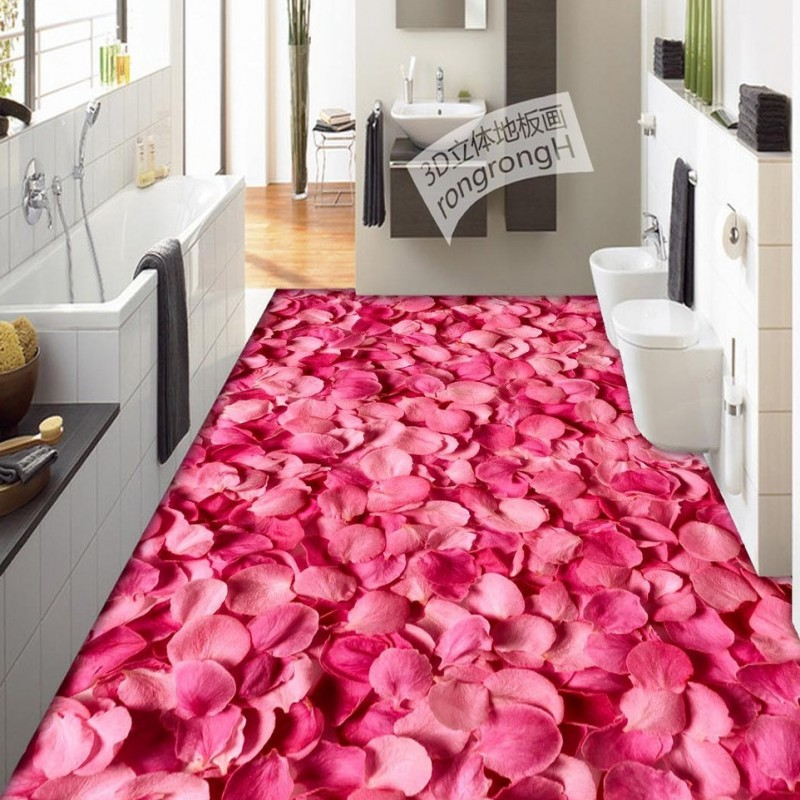 Free Shipping 3D rose petal floor stereo painting wear non-slip custom thickened self-adhesive floor living room wallpaper mural free shipping marble texture parquet reliefs 3d floor painting lifelike thickened wallpaper self adhesive bathroom mural